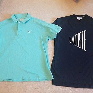 2 mend Lacoste shirts medium